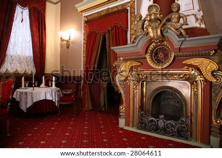 fireplace in old restaurant