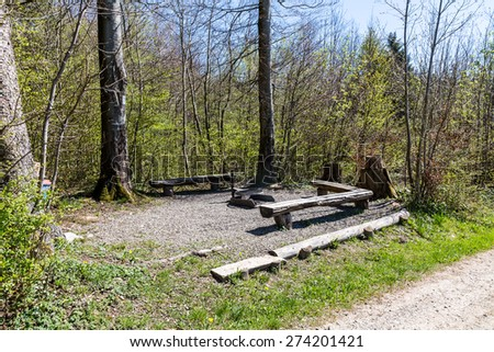 Fireplace in the forest on Mountain Heitersberg, Aargau, Switzerland - stock photo