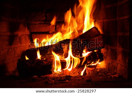 Fireplace in Winter - stock photo