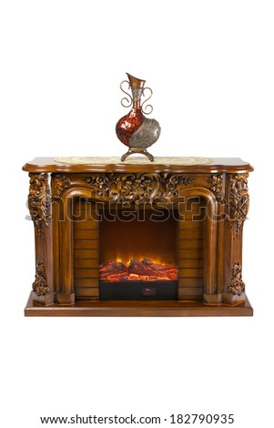 Fireplace isolated on white background