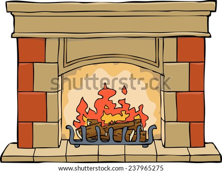 Fireplace on a white background raster version - stock photo