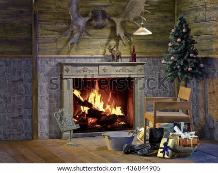 Fireplace room, Chimney Place, Christmas  - stock photo
