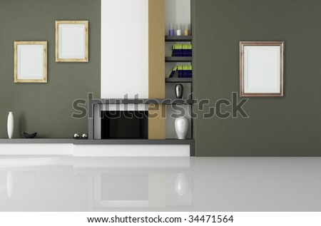fireplace room with bookshelf and old empty frame - rendering - stock photo