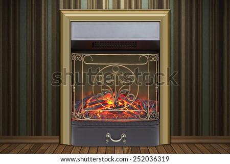Fireplace wallpaper - stock photo
