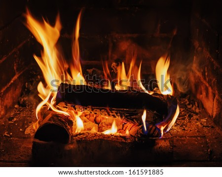 Fireplace with birch firewood and flame. Closeup. - stock photo