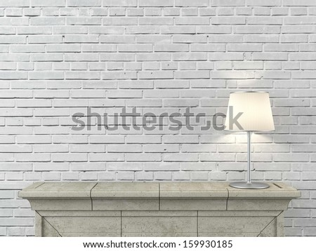 fireplace with lamp - stock photo