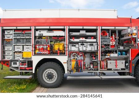 Firetruck equipment - stock photo
