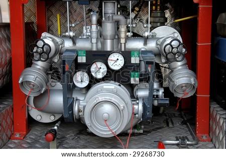Firetruck water pump controls details - stock photo