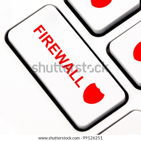 Firewall button on keyboard - stock photo