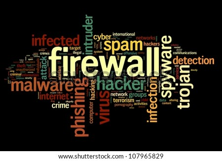 Firewall concept in word tag cloud on black background - stock photo