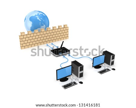 Firewall concept.Isolated on white background.