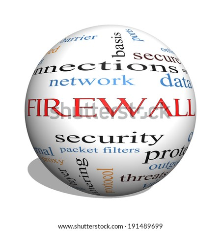 Firewall 3D sphere Word Cloud Concept with great terms such as security, network, data and more.