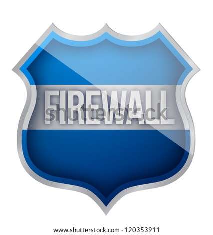 firewall shield illustration design over a white background - stock photo
