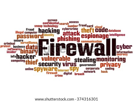 Firewall, word cloud concept on white background.  - stock photo