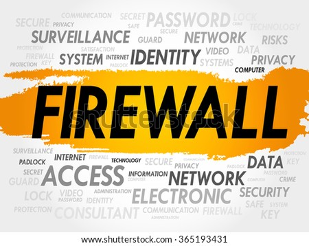 FIREWALL word cloud, security concept - stock photo