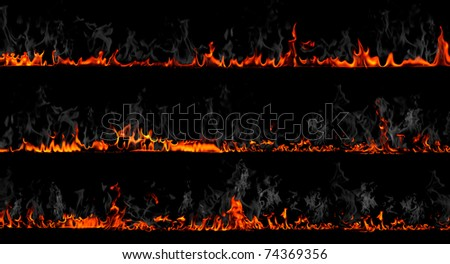 Firewalls with smoke isolated on black
