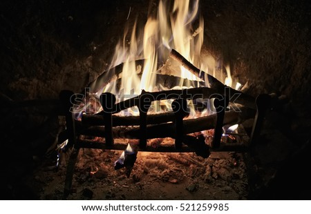 firewood burning in a fireplace