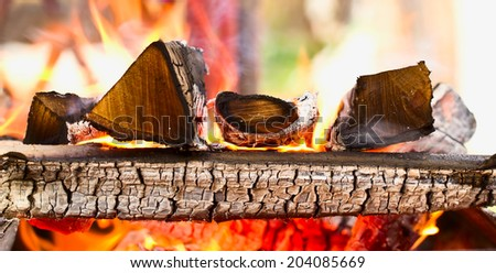 Firewood burning in the brazier. Background