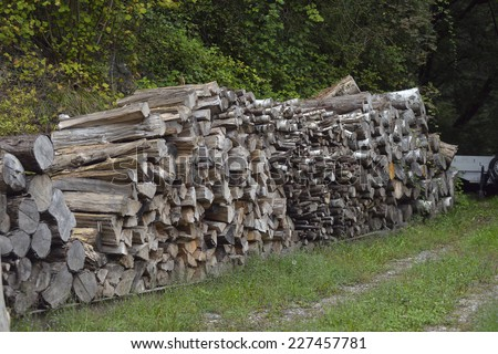 firewood for heating stacked in piles - stock photo