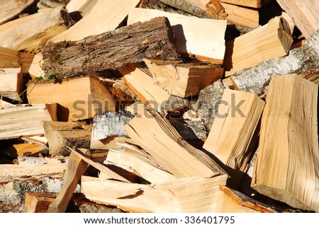 Firewood in the yard at autumn time - stock photo