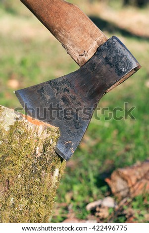 Firewood Splitting. Closeup of axe in log on summer nature background - stock photo