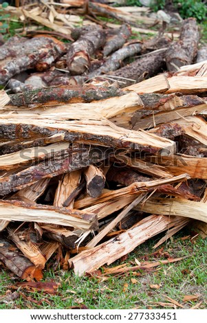 Firewood stack - stock photo