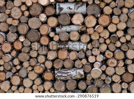 firewood stack. Staple of biomass, arranged firewood - stock photo