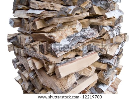 firewood to stoke a furnace isolated on white with clipping path saved - stock photo