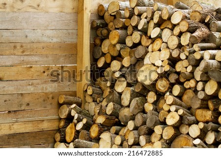 Firewood wooden barn detail  - stock photo