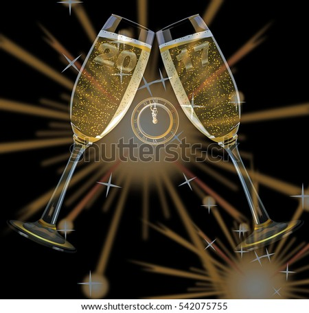 Firework and champagne glasses and text happy new year and year 2017