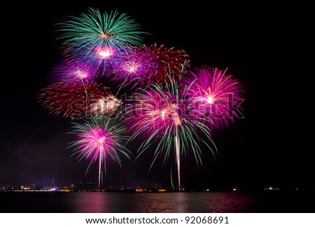 firework at  Pattaya beach -Thailand - stock photo