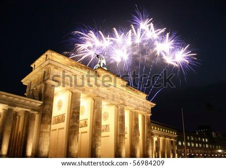 Firework at the Brandenburg Gate in Berlin - stock photo