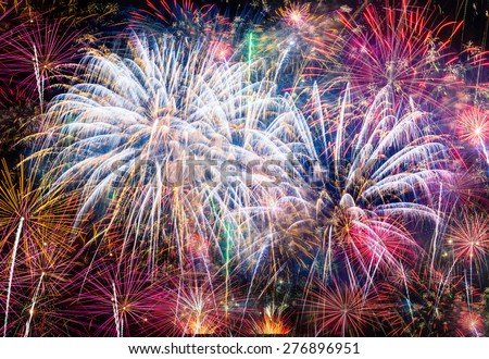 Firework Blast at 1st of january  celebration in Chiang Mai Thailand. - stock photo