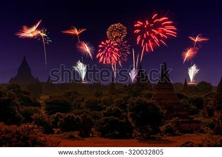 Firework Celebration at Old City Bagan, Myanmar. - stock photo