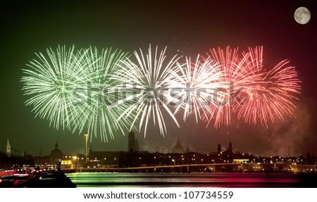 Firework celebration Redentore (Venice, Italy) (italian flag) - stock photo