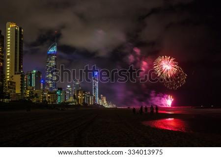 Firework celebrations on the Gold Coast, Australia - stock photo