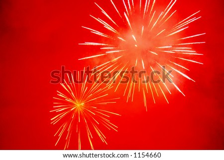 Firework competition at Courchevel 1850 in the Alps, France, Europe.  pyrotechnics - stock photo