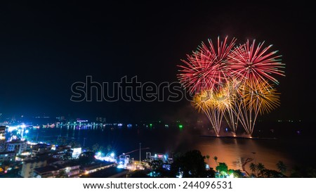 Firework Festival On Pattaya Beach Of Chonburi, thailand