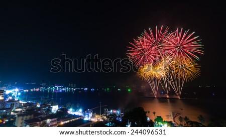 Firework Festival On Pattaya Beach Of Chonburi, thailand - stock photo