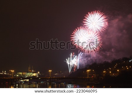 Firework for celebrating New Year with Prague Castle