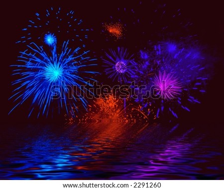 Firework. Illustration - stock photo