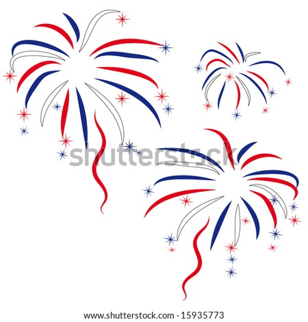 firework in honour of Independence Day - stock photo