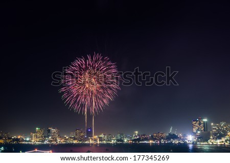 Firework in Pattaya City.