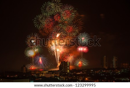 Firework of HuaHin Countdown on new year's eve, Thailand - stock photo