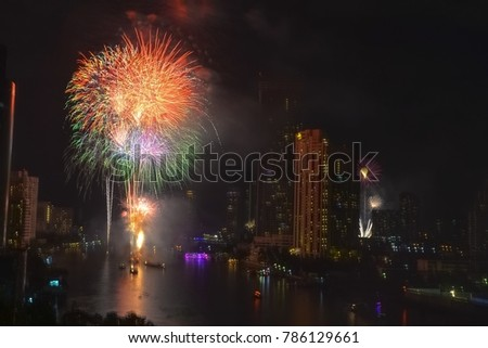 firework of new year event in Bangkok
