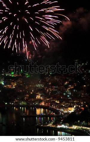 Firework on August the 15th in Parga Greece - stock photo