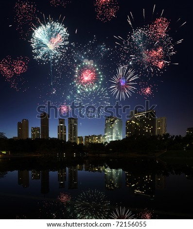 Firework over city Kuala Lumpur - stock photo