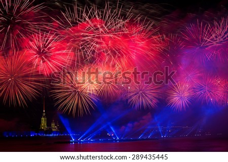 Firework over Neva river - stock photo