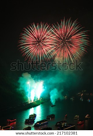 Firework over the rhine valley, Oberwesel, Germany - stock photo
