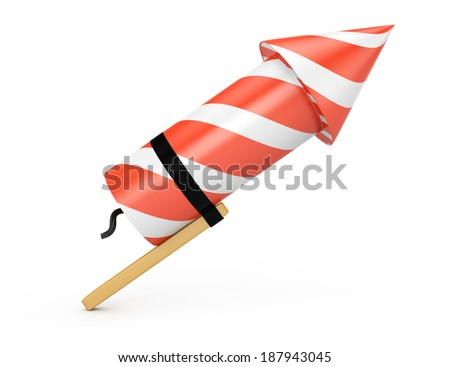 Firework rocket isolated on white background. 3d rendering illustration - stock photo